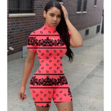Plus Size Sexy Short Sleeve Slim Print Romper LQ-5850