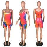 Tie Dye Print Sleeveless Casual Rompers MYP-8925