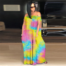 Tie Dye Slash Neck Loose Jumpsuits Plus Size 4XL MEI-9098