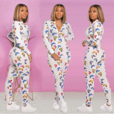 Butterfly Print Zipper Long Sleeve One Piece Jumpsuits KSN-5149
