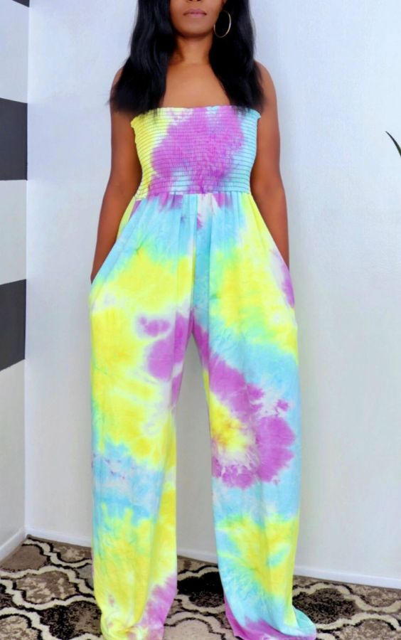 Plus Size Tie Dye Print Off Shoulder Jumpsuits YM-9216