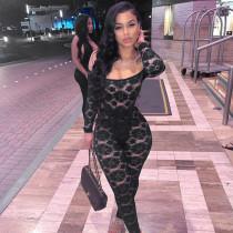 Fashion Off Shoulder Sexy Lace Bodysuit+Pants Suit MAE-2051
