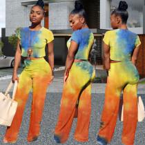 Plus Size Tie Dye Short Sleeve Two Piece Pants Set WAF-7020