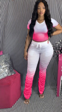 Plus Size Gradient T-shirt Stacked Flare Pants Suit OSM-3302