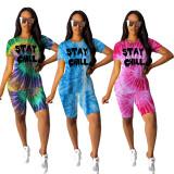 Tie Dye Letter Print Casual Two Piece Shorts Set WZ-8281