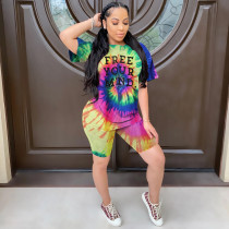Tie Dye Letter Short Sleeve Two Piece Shorts Set WZ-8285