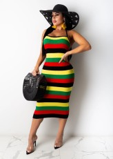 Colorful Stripe Strappy Backless Midi Dress TR-1056