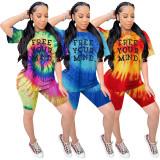 Tie Dye Letter Short Sleeve Two Piece Shorts Set WZ-8285