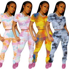Tie Dye Short Sleeve Stacked Pants 2 Piece Sets OFN-6401