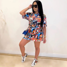 Casual Graffiti Print Short Sleeve Mini Dress TR-1055