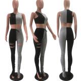 Plus Size Patchwork Sleeveless Hole Split Stacked Pants Set OY-6200