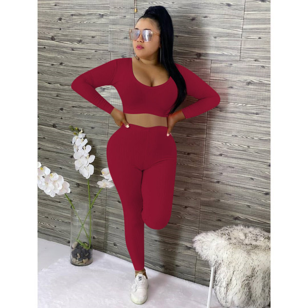 Solid Long Sleeve Low Cut Two Piece Pants Set OY-6203