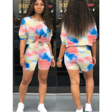 Tie Dye Print Casual Two Piece Shorts Set OFN-3175