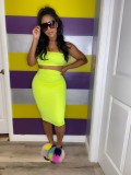 Solid Tube Tops And Midi Skirt Two Piece Sets TR-1050