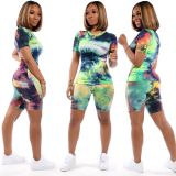 Tie Dye T Shirt Shorts Casual Two Piece Sets XMY-9252