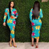 Trendy Printed Long Sleeve Slim Midi Dress SHA-6151