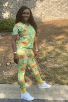 Tie Dye V Neck Casual Two Piece Pants Set BLI-2095