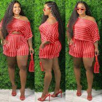 Fashion Striped Loose Short Sleeve Shorts Two Piece Set MX-1135