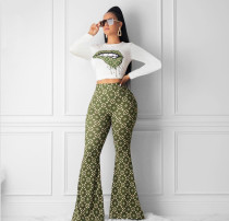 Lips Print Long Sleeve Flared Pants Two Piece Sets YIM-8064