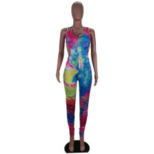 Plus Size Tie Dye Print Backless Hollow Jumpsuits BLI-2077
