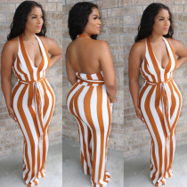 Sexy Fashion Halter Backless Striped Flare Jumpsuit With Belt BS-1205
