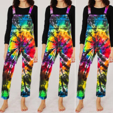 Plus Size Fashion Print Tie-dye Jumpsuit Overalls RSN-763