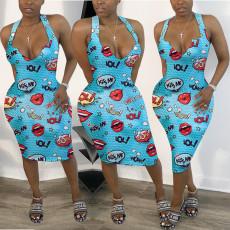 Cartoon Print Sleeveless V Neck Bodycon Midi Dress KSN-8006