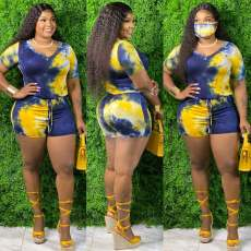 Plus Size 4XL Tie Dye V Neck One Piece Rompers Without Mask SMD-2034