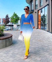 Plus Size Personalized Gradient Casual Crop Top Stacked Long Pants Suit RSN-765