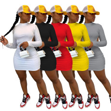 Soid Long Sleeve Backless Mini Dress IV-8109
