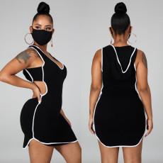 Black Sleeveless Hooded Casual Mini Dress KSN-8007
