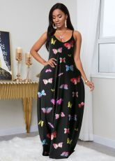 Butterfly Print Sleeveless Maxi Slip Dress MN-9256