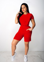 Solid Short Sleeve Casual Two Piece Shorts Sets CM-756