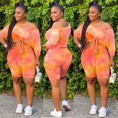 Plus Size Tie Dye Print Two Piece Shorts Set HGL-1355
