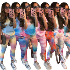 Tie Dye Print Short Sleeve Two Piece Pants Set CM-758