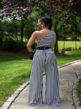 Plus Size 4XL Striped One Shoulder Long Sleeve Jumpsuit NIK-146