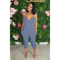 Plus Size Solid Seeveless Strap One Piece Jumpsuits HGL-1353