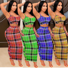 Plaid Print Spaghetti Strap Maxi Skirt Two Piece Sets HM-6335