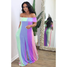 Plus Size Fashion Sexy Off Shoulder Color Striped Print Jumpsuit YM-9222