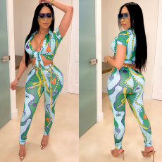 Fashion Sexy Printed Club Party Trousers Two Piece Set YSU-8007