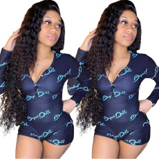 Casual Long Sleeve Print Skinny Sexy Fitness Rompers YSU-8010