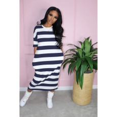 Casual Striped Short Sleeve Midi Dress OFN-6409