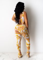 Sexy Printed Sleeveless Lace Up 2 Piece Pants Set With Mask LSL-6363