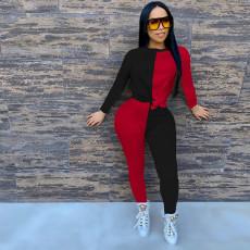 Contrast Color Long Sleeve Two Piece Pants Suit MA-352