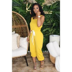 Plus Size Casual Solid Sleeveless One Piece Jumpsuits YN-1019