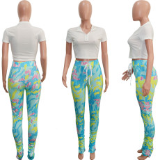 Solid Color Crop Tops and Printed Pant Set SH-3826