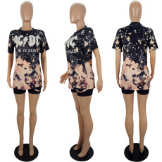 Casual Printed Short Sleeve O Neck T Shirt LSL-6364