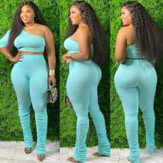 Sexy One Shoulder Stacked Pants Two Piece Sets HGL-1381