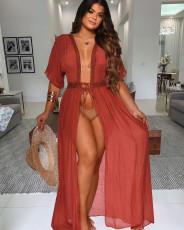 Sexy Short Sleeve V Neck Long Beach DressLS-0316