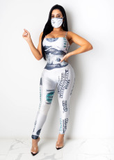 Dollar Print Sapaghetti Strap Jumpsuits With Mask CHY-1246